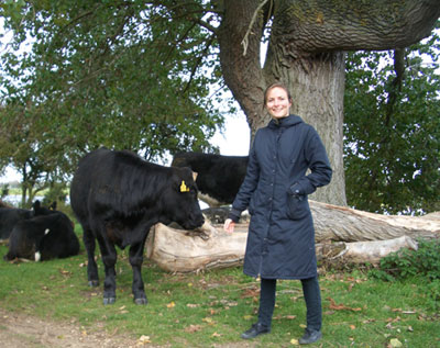 Helene and a cow on Port Meadow